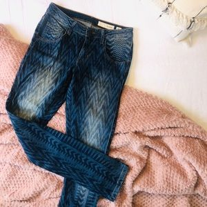 Anthropologie pattered skinny jeans